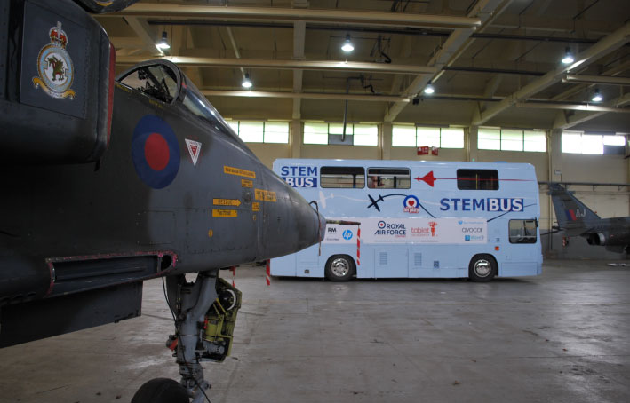 Photo of RAF Cosford STEM Bus in Hanger