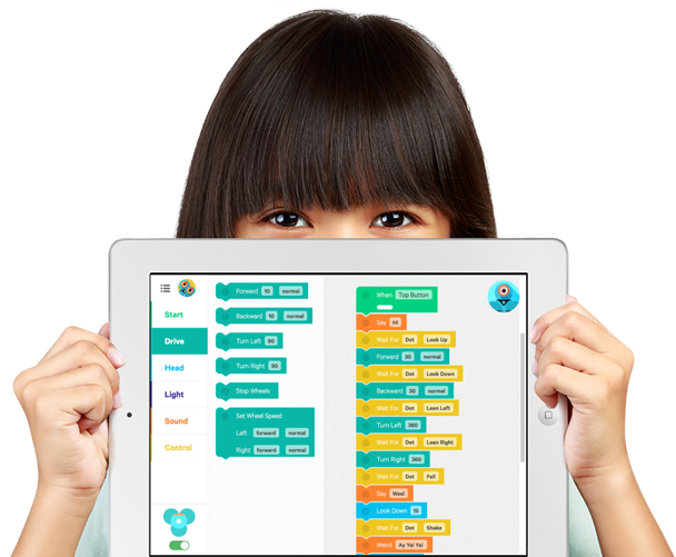 Girl using a tablet with support staff